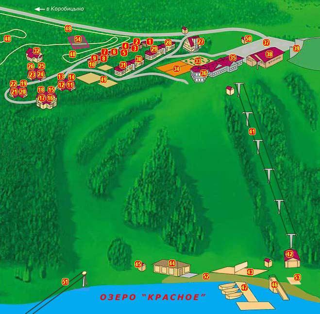 Горнолыжный курорт Красное озеро лодки пляж теннисные корты каток аттракцион водные ватрушки